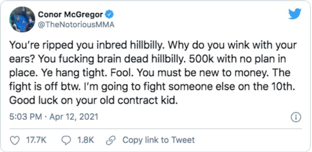 Conor McGregor Dustin Poirier galen tweet UFC MMA Frontkick Online