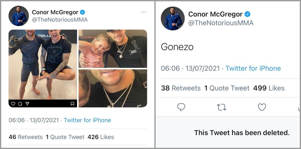 Conor McGregor raderade tweets UFC MMA Frontkick Online